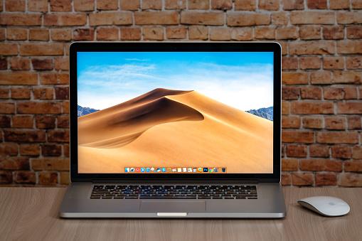 Estonia, Tallinn, July 11, 2020. Apple Macbook pro 15 Retina on table