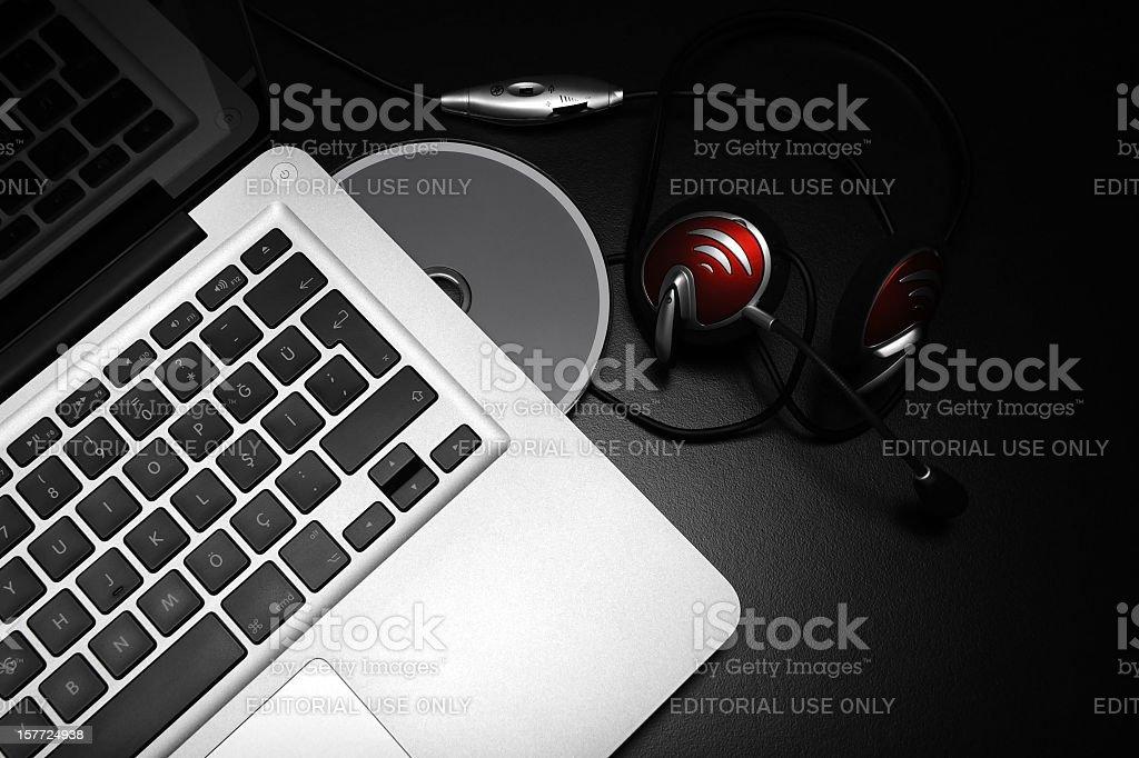 Apple MacBook Pro and Headphone royalty-free stock photo