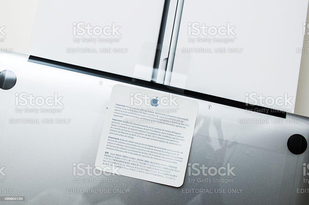 Apple Macbook Pro Retina laptop unboxing security seal stock photo