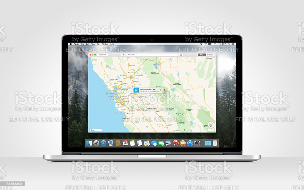 Apple MacBook Pro Retina with an open Maps app stock photo
