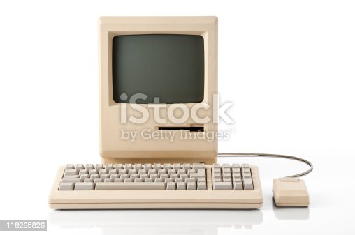 Old retro classic computer. The image has a clipping path on both screen and main computer.