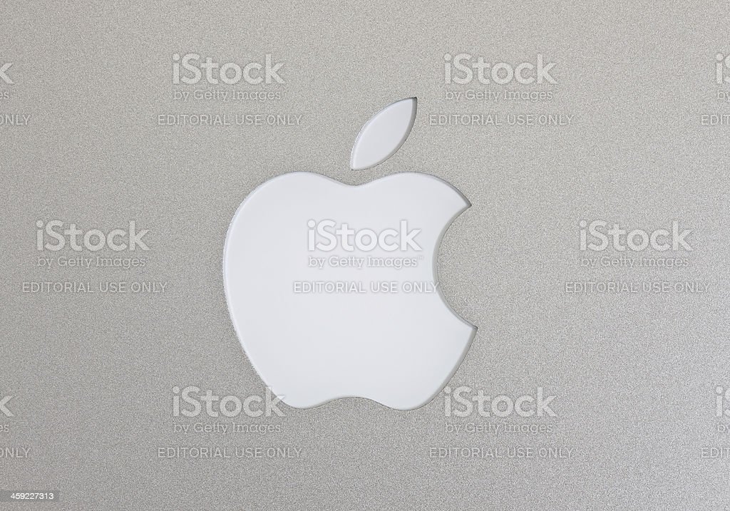 Apple Macintosh logo on the Macbook Air stock photo