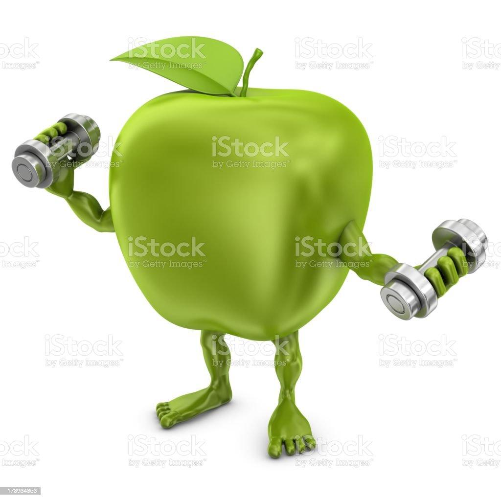 apple man exercising royalty-free stock photo