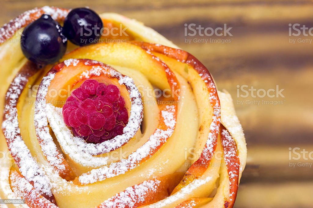 apple muffin with raspberry and blueberries stock photo