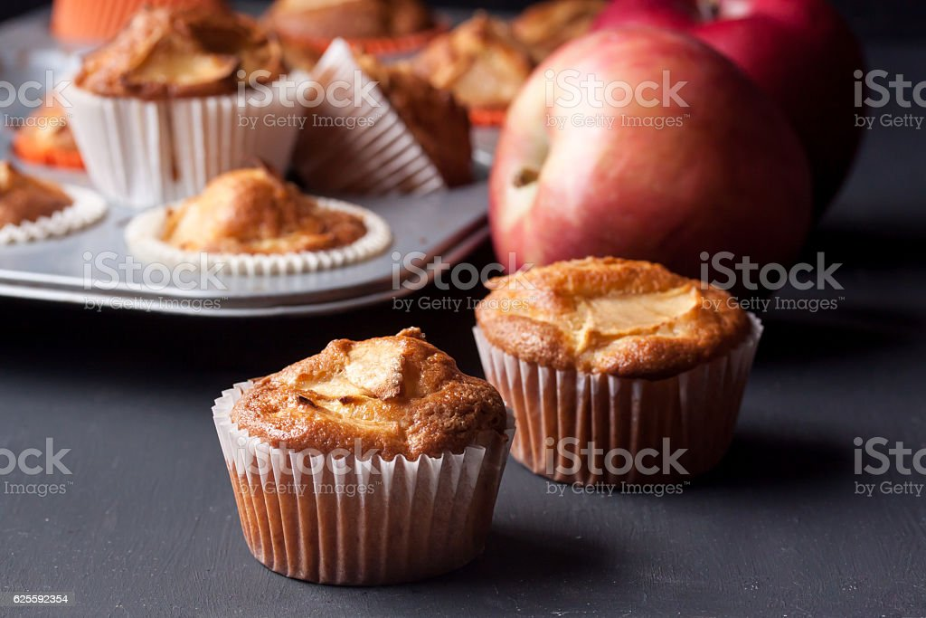 apple muffins stock photo