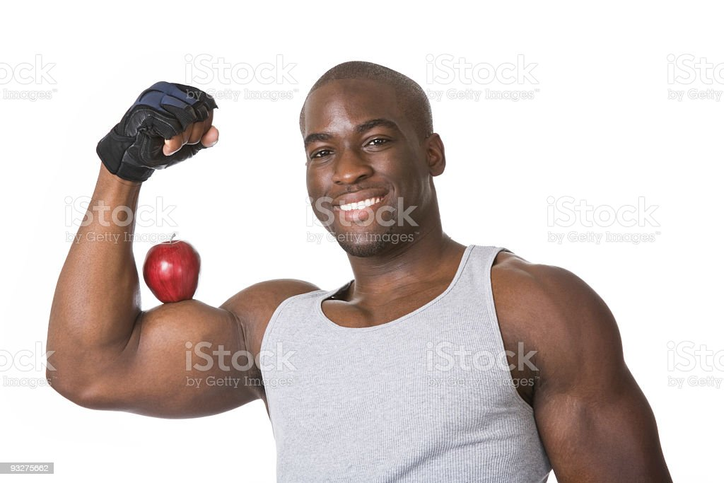 Apple on Bicep royalty-free stock photo