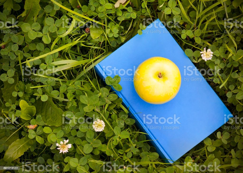 Apple on book on grass. Education concept. royalty-free stock photo