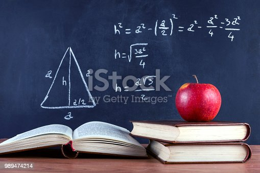 1045293630istockphoto Apple on books and blackboard with Pythagorean theorem 989474214