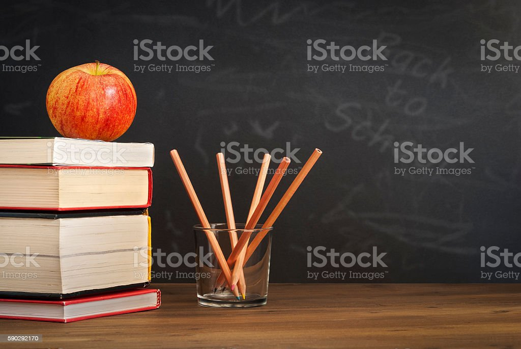 apple on books, blackboard - back to school royaltyfri bildbanksbilder