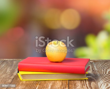 istock Apple on stack books empty space nature background. 509477302