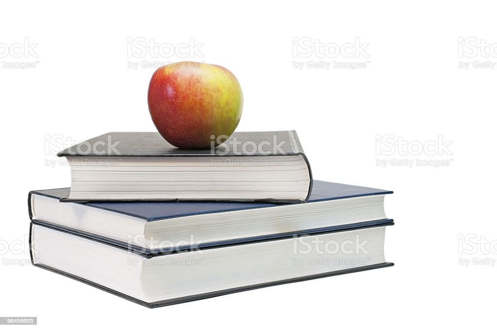 Apple on the book. royalty-free stock photo