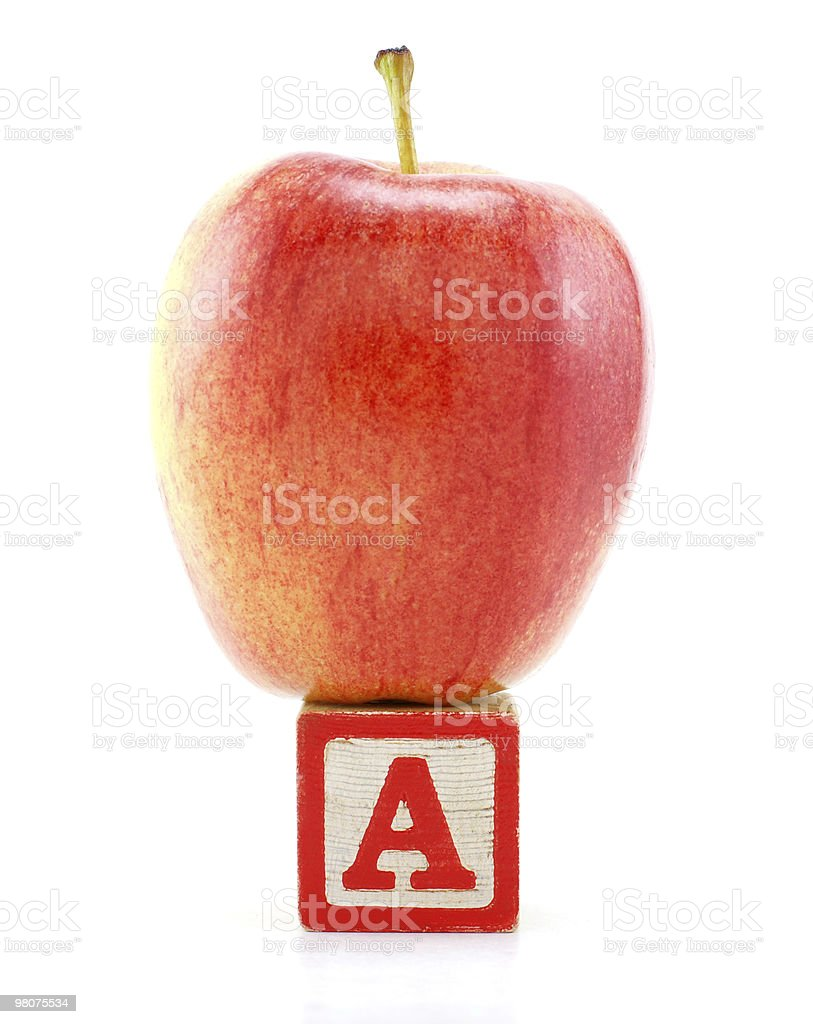 Apple on the Letter A royalty-free stock photo
