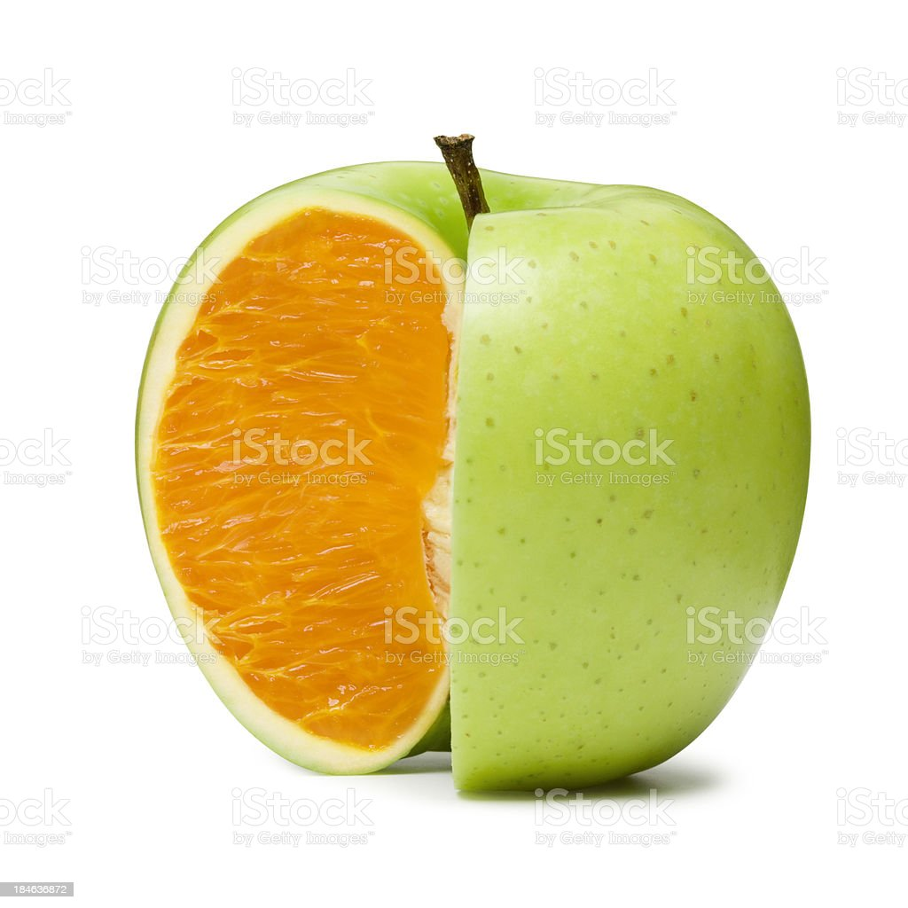 Apple Orange stock photo