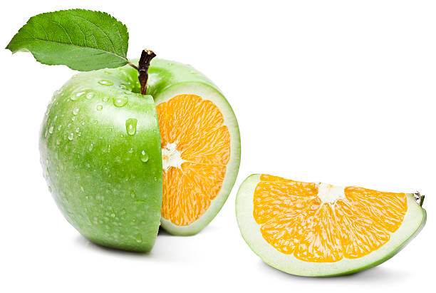 apple orange - genetic modification stock photos and pictures
