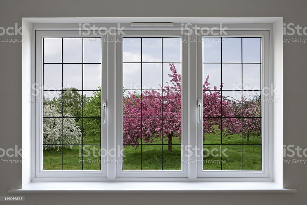 apple orchard through leaded glass window stock photo