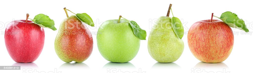Apple pear fruit apples pears fruits in a row isolated stock photo