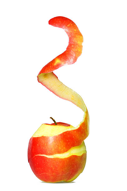 apple peel - peeled stock photos and pictures