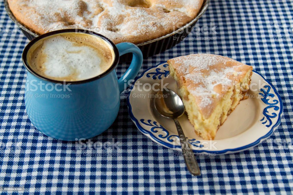 Apple pie and coffee mug