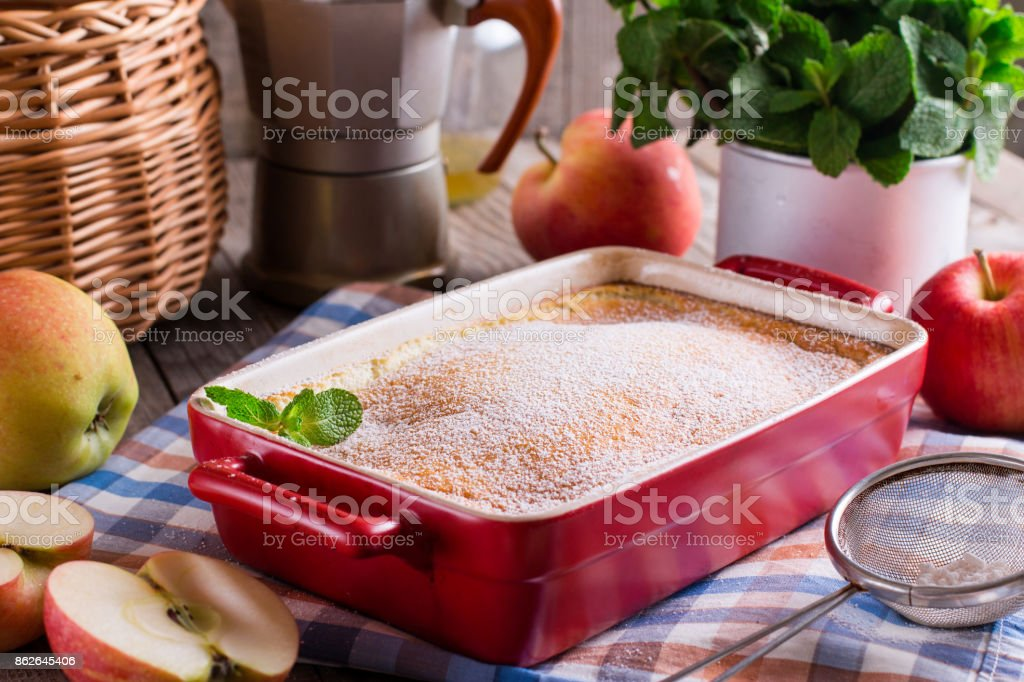 Apple pie and fresh fruit stock photo