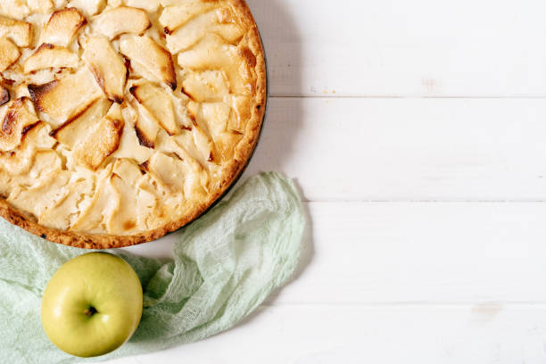 Apple Pie Cake Bakery Dessert Copy Space Top View stock photo