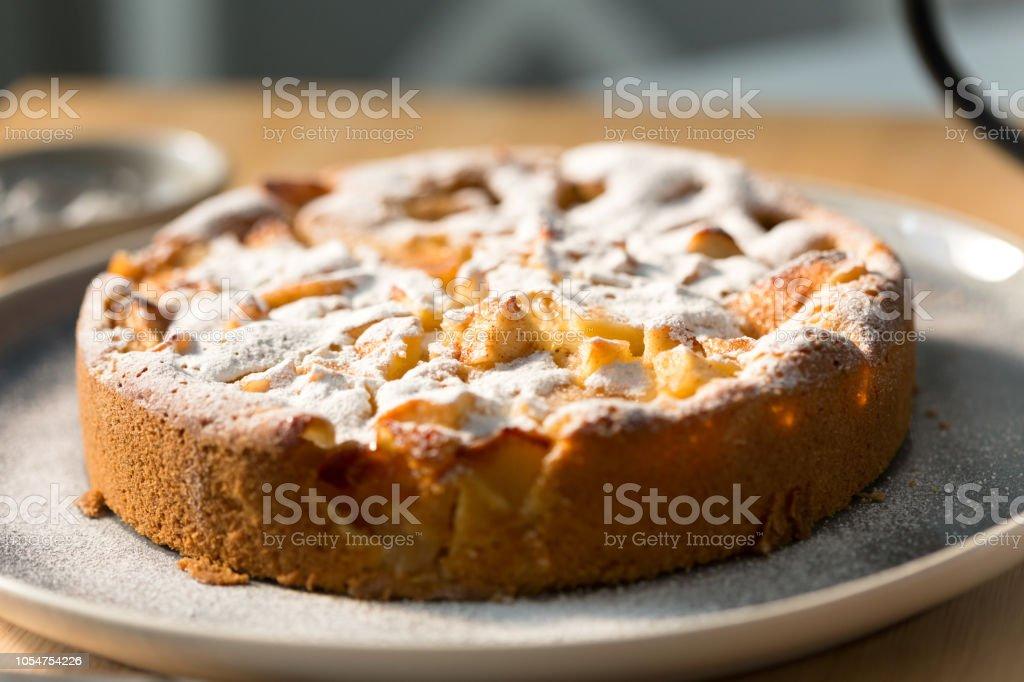 Apple pie close-up stock photo