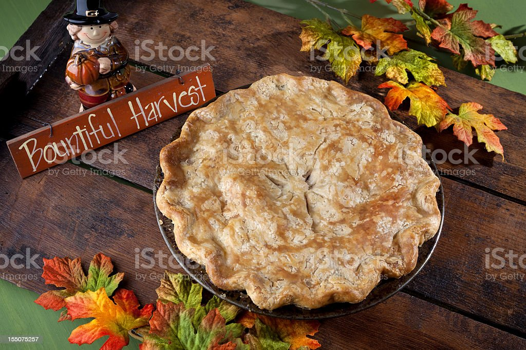 Apple Pie Dessert for Thanksgiving, Autumn Harvest Food Background stock photo