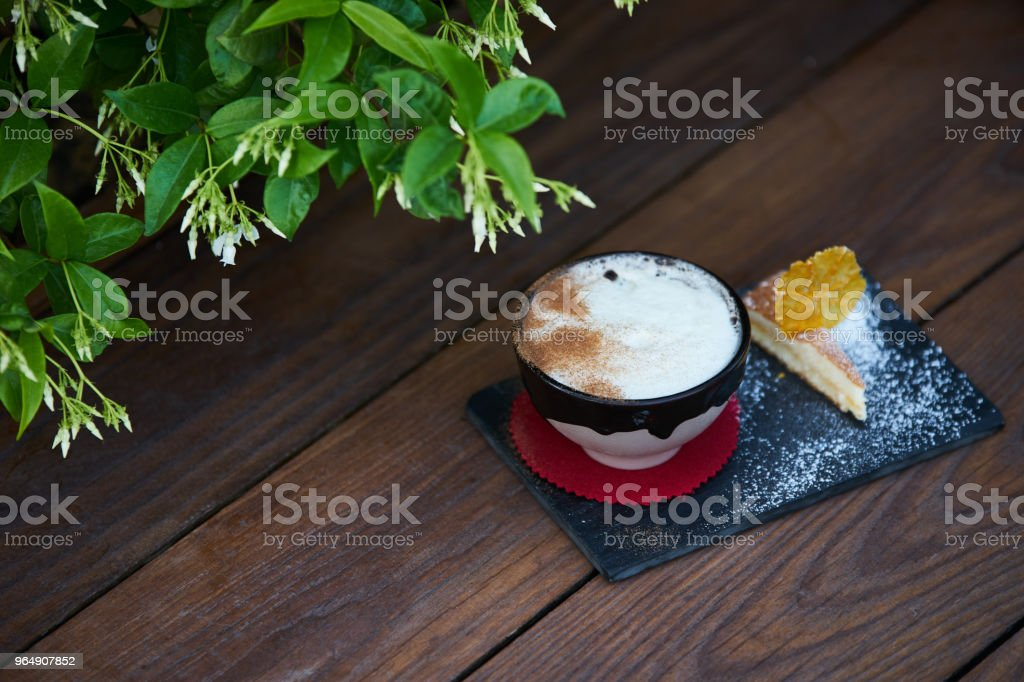 Apple pie flavor cocktail with spices and vanilla ice cream royalty-free stock photo