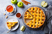 Apple pie on a cooling rack. Grey background. Copy space. Top view.