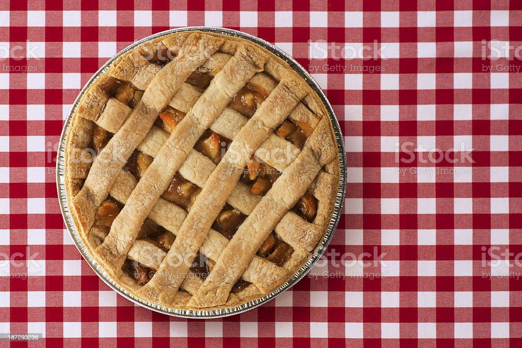 Apple Pie on Picnic Table stock photo