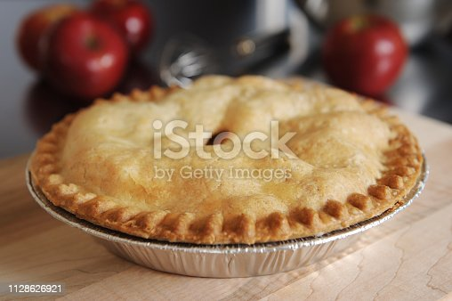 Baked apple pie on a kitchen counter top