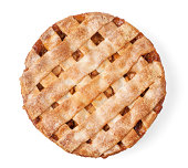 Slate plate with piece of delicious apple pie on white background