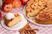 Slice of apple pie with icecream on top