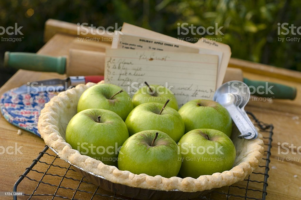 Apple Pie & Recipe Baking Ingredients Handwritten on Index Card royalty-free stock photo