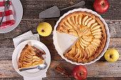 A lattice top apple pie on a light background.
