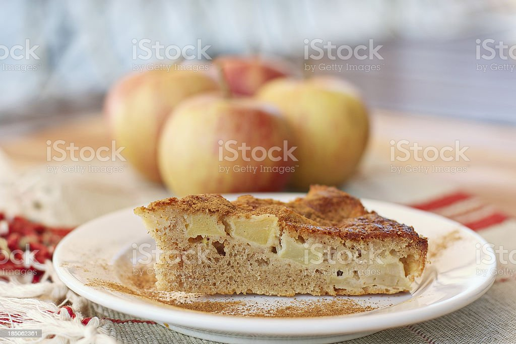 Apple pie slice royalty-free stock photo