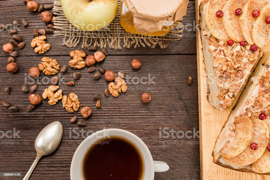 Apple pie teatable royalty-free stock photo