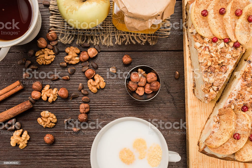 Apple pie teatable stock photo