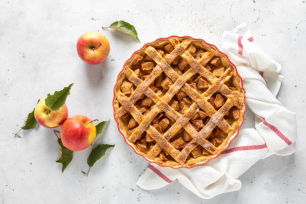 Apple pie. Traditional american apple pie with fresh apples and cinnamon stock photo