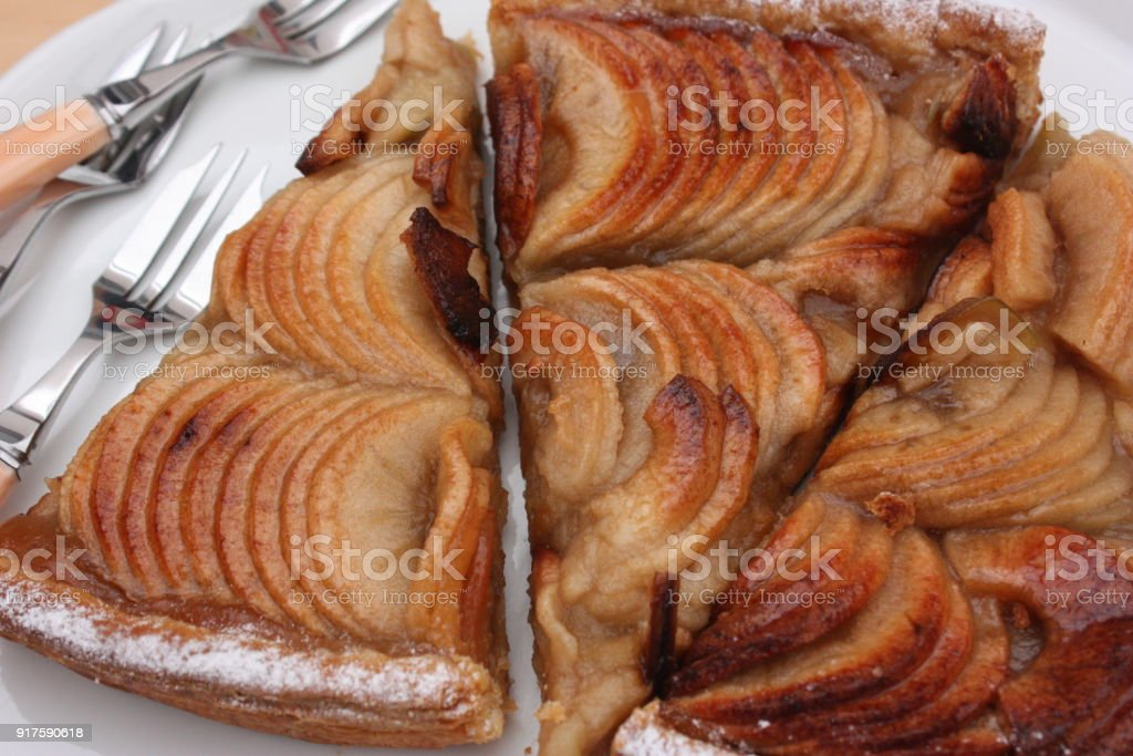 Apple pie with a topping of compote stock photo