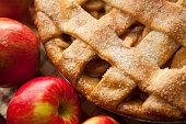 An apple pie with lattice crust