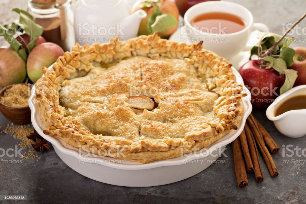 Apple pie with leaves cut outs stock photo