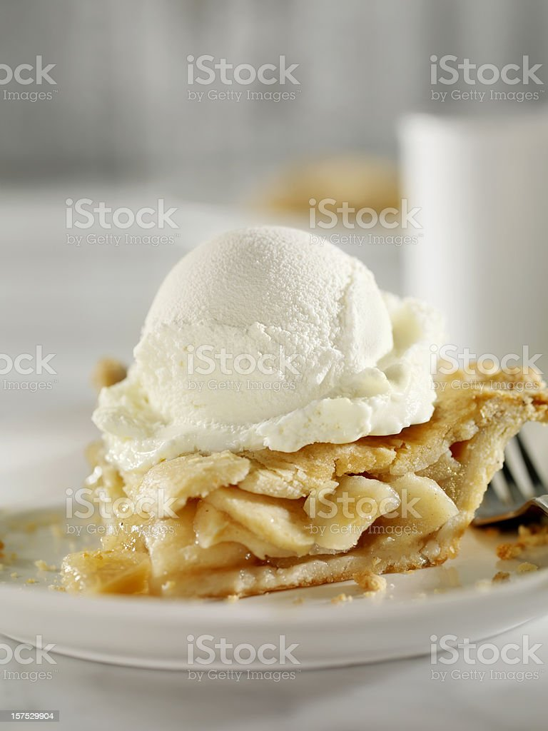 Apple Pie with Vanilla Ice Cream stock photo