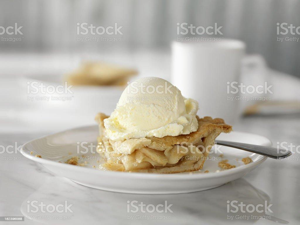 Apple Pie with Vanilla Ice Cream stock photo