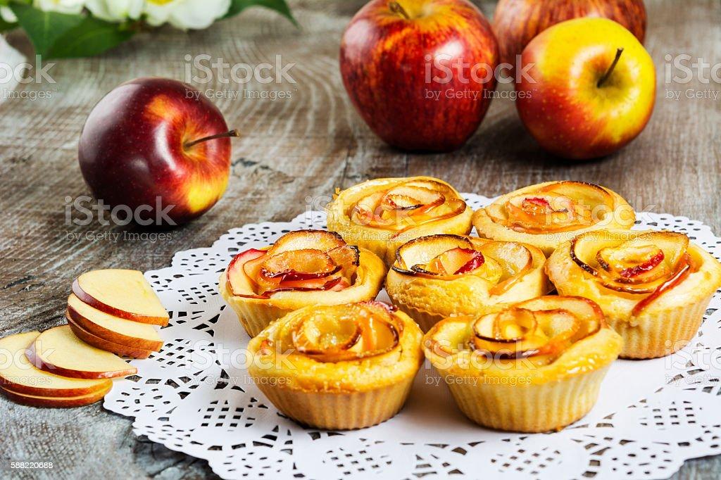 Apple rose shaped pie stock photo