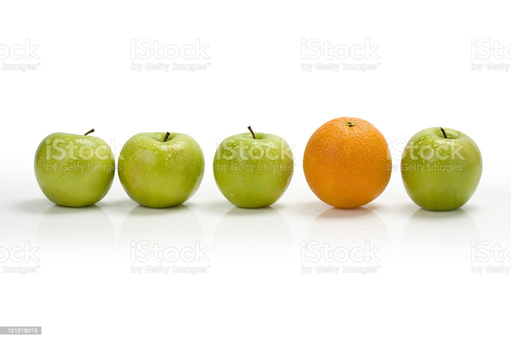 Apple row with orange stock photo