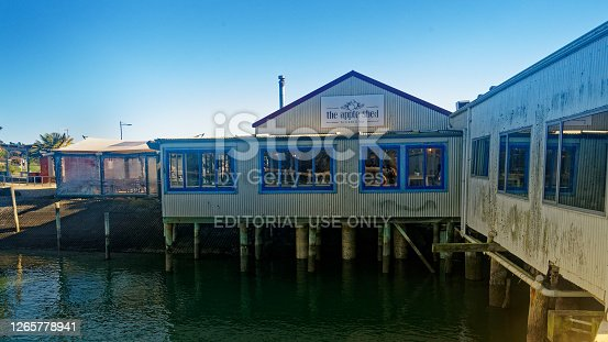 Mapua, Tasman/New Zealand - 20 May, 2020: Apple Shed restaurant on the wharf at Mapua.