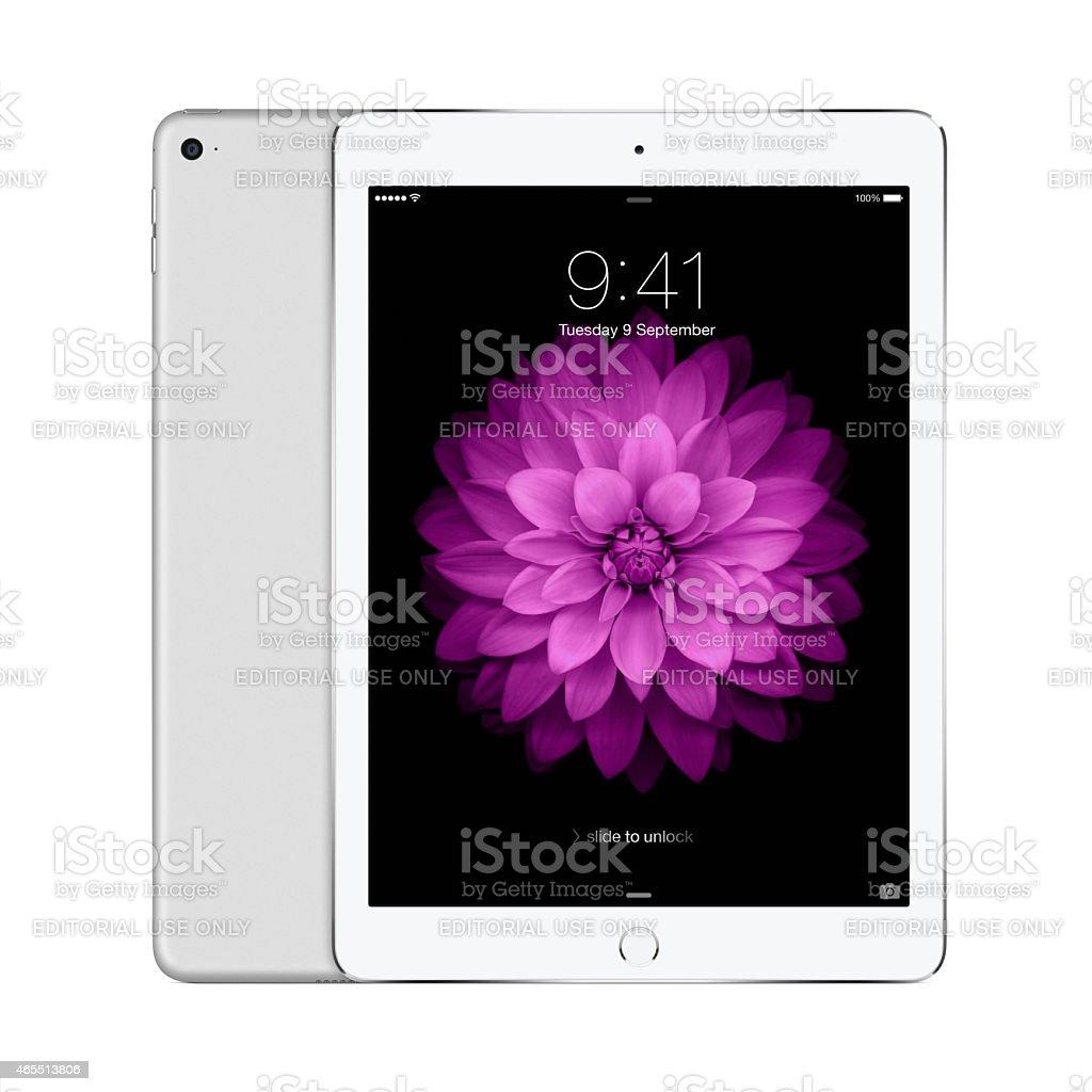 Apple Silver iPad Air 2 with iOS 8 stock photo