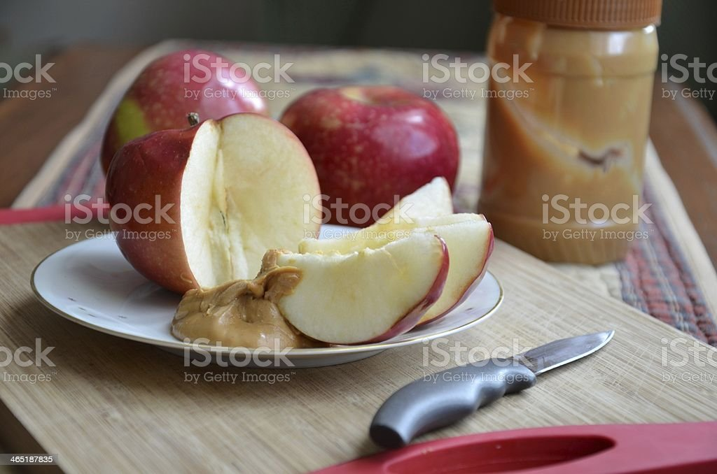 Apple slices & Peanut Butter Snack stock photo