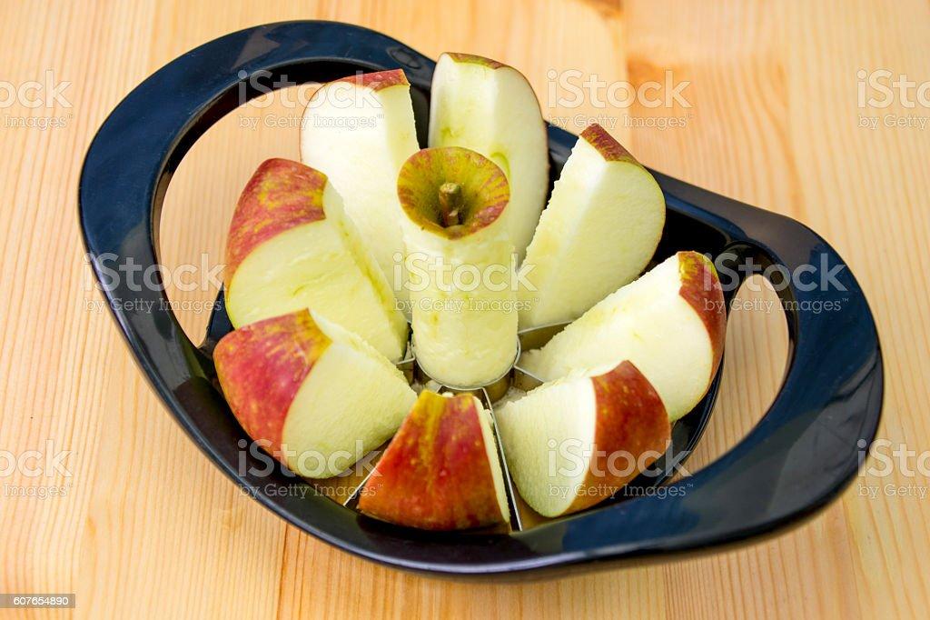 Apple Slicing Cutting Device - Slices Ready ストックフォト