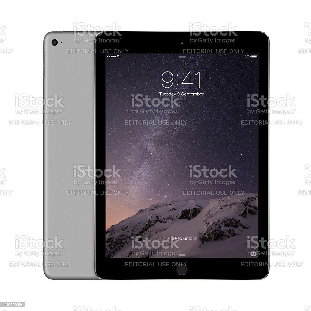 Apple Space Gray iPad Air 2 with iOS 8 stock photo